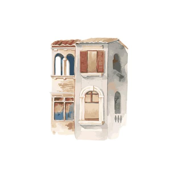 Illustration der mittelmeerstadt äußere wasserfarbart errichtend