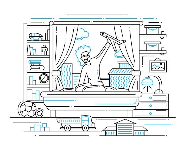 Illustration der modernen linienkomposition und der infografikelemente mit einem jungen, der in seinem zimmer spielt