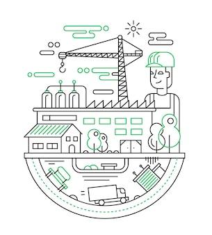 Illustration der modernen linienstadtzusammensetzung mit personen-, fabrik- und baugebäuden und anderen infografikenelementen