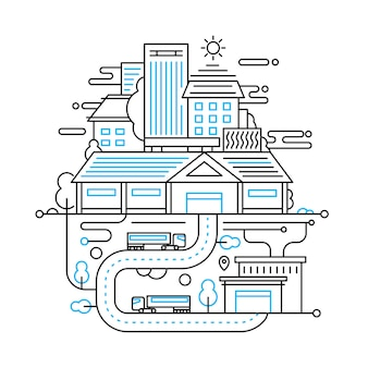 Illustration der modernen linienstadtzusammensetzung mit stadtgebäuden, stadtbild- und stadtlebensstil-infografiken