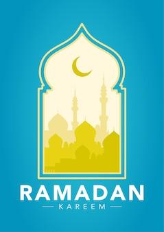 Illustration der moscheenschattenbild im arabischen fenster. flache illustration des ramadan-kareem-konzepts