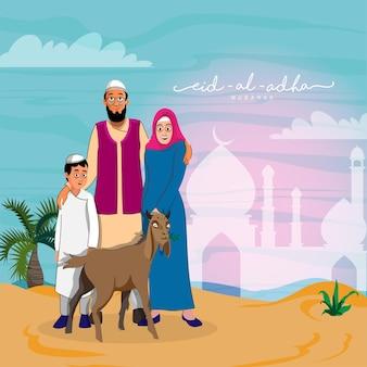 Illustration der muslimischen familie, die zusammen mit ziegentier auf silhouette-moschee-buntem hintergrund für eid-al-adha mubarak-konzept steht.