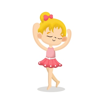 Illustration der netten ballerina mit glücklichem gesicht