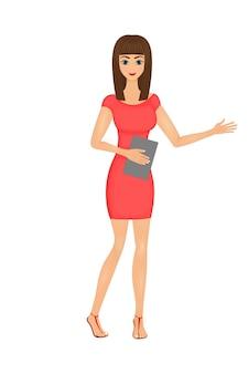 Illustration der netten karikaturgeschäftsfrau in einem roten kleid mit einem ordner
