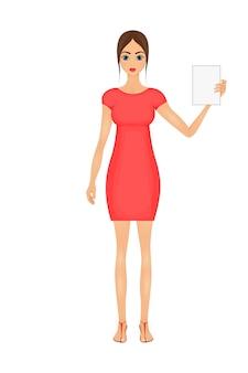 Illustration der netten karikaturgeschäftsfrau in einem roten kleid mit einem zeichen