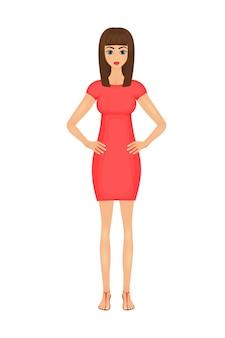 Illustration der netten karikaturgeschäftsfrau in einem roten kleid