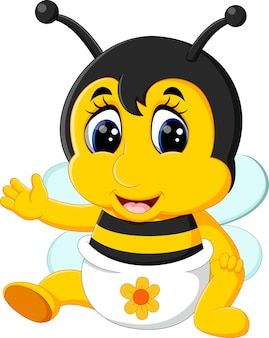 Illustration der niedlichen bienenkarikatur