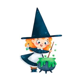 Illustration der niedlichen cartoon-halloween-hexe braut trank im kessel isoliert auf weißem hintergrund