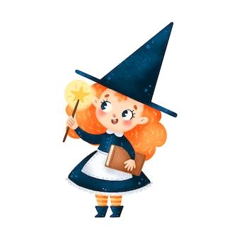 Illustration der niedlichen cartoon-halloween-hexe mit dem zauberstab isoliert auf weißem hintergrund
