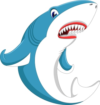 Illustration der niedlichen haifischkarikatur