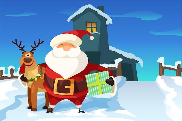 Illustration der niedlichen karikaturart santa claus umarmt rentier, das geschenk am haus hält
