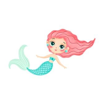 Illustration der niedlichen karikaturnixe mit rosa haaren lokalisiert auf weißem hintergrund