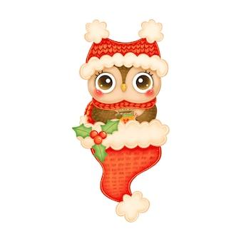 Illustration der niedlichen karikaturweihnachts-eule im roten hut und im schal mit teetasse im roten weihnachtsmannhut