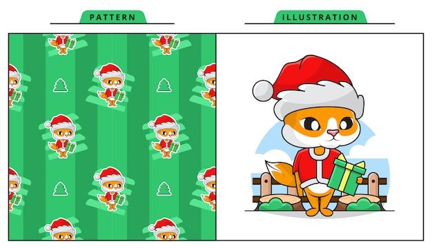 Illustration der niedlichen katze, die weihnachtsmann-kostüm mit dekorativem nahtlosem muster trägt