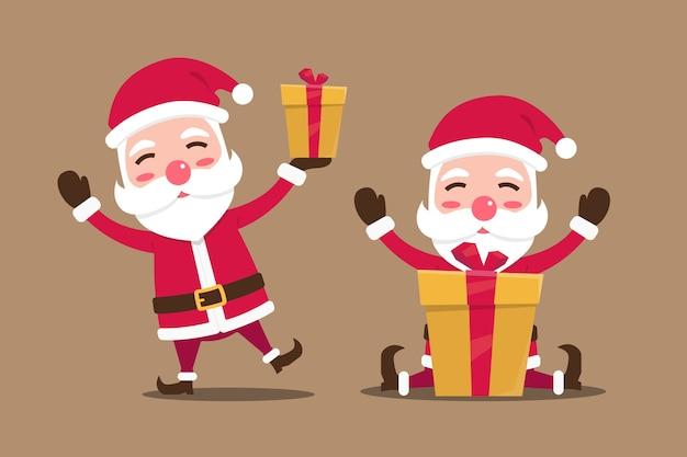 Illustration der niedlichen weihnachtsmann- und geschenkkarikaturfigur
