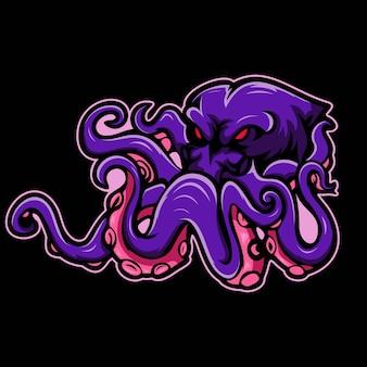 Illustration der octopus e-sport maskottchen grafik Premium Vektoren