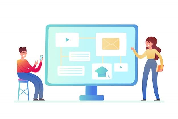 Illustration der online-bildung, business-training isoliert auf weiß. computer mit nachrichten und stehendem winzigem jungen mann und frau