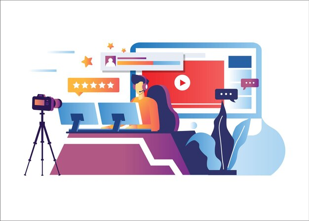 Illustration der online-nachrichtensendung