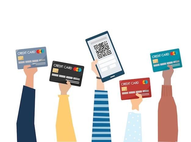 Illustration der online-zahlung mit kreditkarte