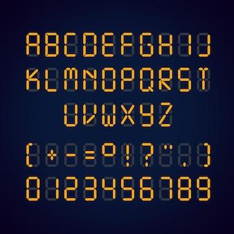Illustration der orange digitalen led-schriftart und der zahlen mit zeichen