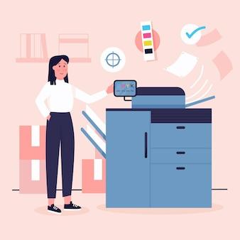 Illustration der organischen flachdruckindustrie