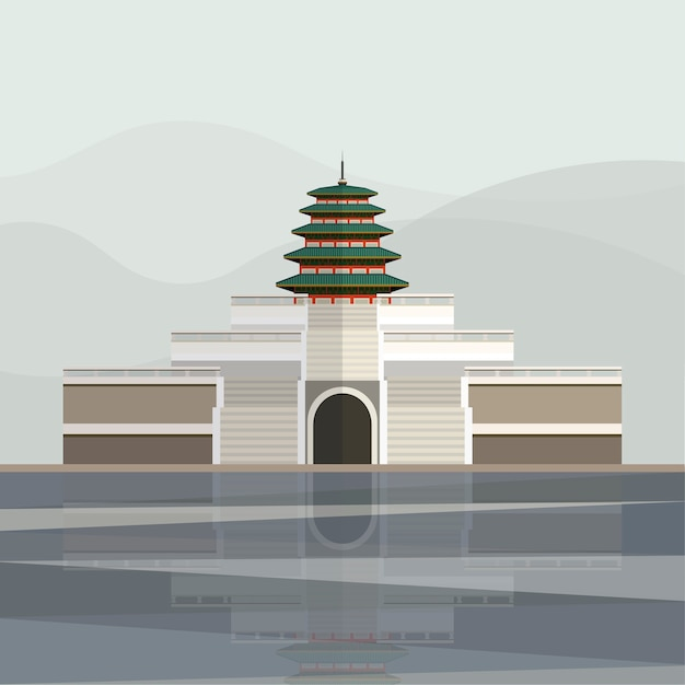 Illustration der pagode von gyeongbokgungs-palast