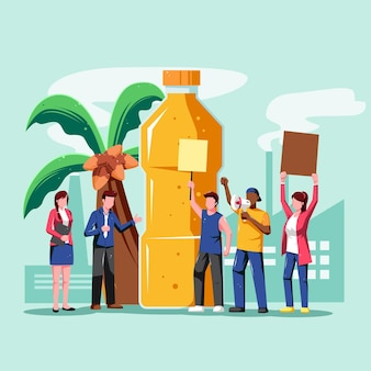 Illustration der palmöl produzierenden industrie mit demonstranten