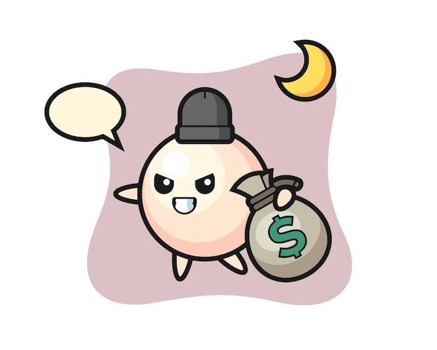 Illustration der perle cartoon ist das geld gestohlen
