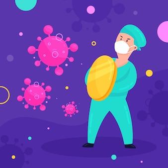 Illustration der person, die das virus bekämpft