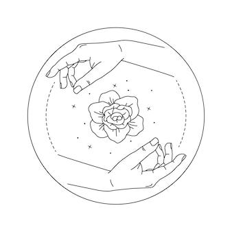 Illustration der pfingstrosenblume in den frauenhänden.