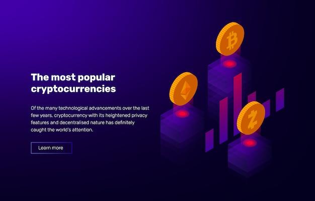 Illustration der populären kryptowährung. banner mit bewertung von bitcoin und altcoins.