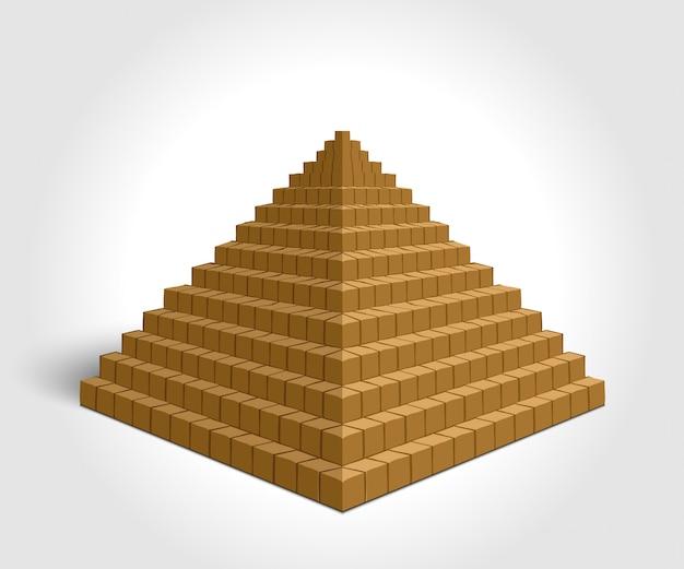Illustration der pyramide auf weißem hintergrund.