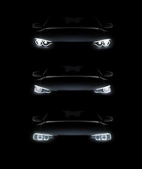 Illustration der realistischen eingestellten stilvollen automobilsilhouette der autolichter mit weißen scheinwerfern auf schwarzem hintergrund