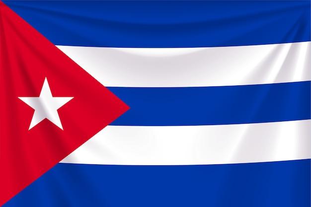 Illustration der realistischen flagge von kuba mit falten