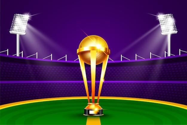 Illustration der realistischen goldenen pokal-trophäe für cricket-sportturnierspiel auf cricket-stadion