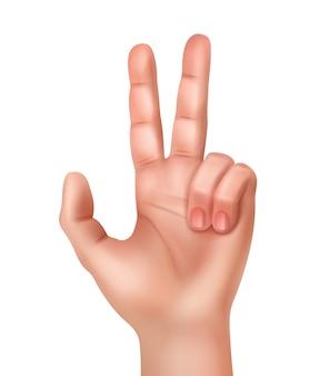 Illustration der realistischen menschlichen hand, die siegeszeichen zeigt