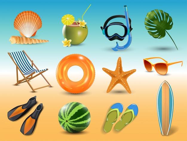 Illustration der realistischen sommerferienstrandikonen am meer lokalisiert am meer