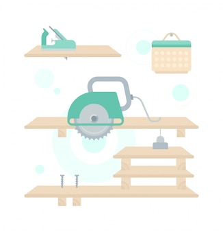 Illustration der reparatur des holzregals