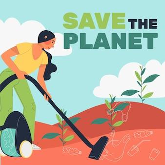 Illustration der rettung des planeten