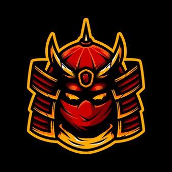 Illustration der samurai esport maskottchen logo vorlage