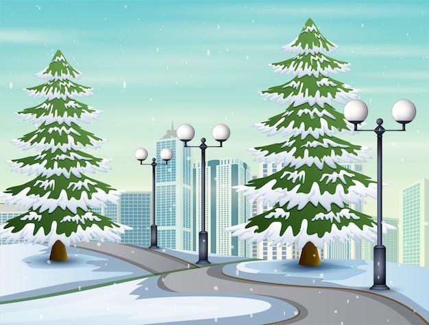 Illustration der schneebedeckten straße zur stadt