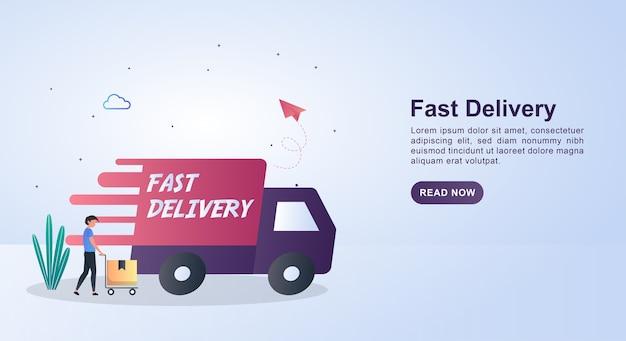 Illustration der schnellen lieferung durch schnelles auto.