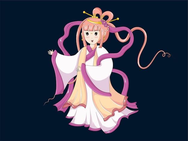 Illustration der schönen chinesischen göttin des mondes für das mittlere herbstfest oder das chuseok-festival.