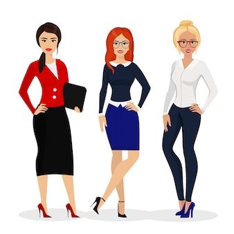 Illustration der schönen erfolgreichen geschäftsfrau. büro mädchen arbeiter im cartoon-stil.