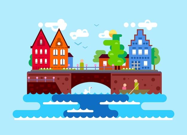 Illustration der schönen europäischen sommerlandschaft mit gebäuden