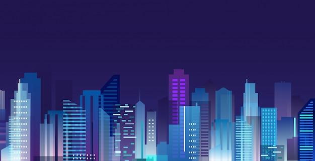Illustration der schönen nachtstadt, wolkenkratzerlichter in der nachtmetropole, skyline im flachen stil.