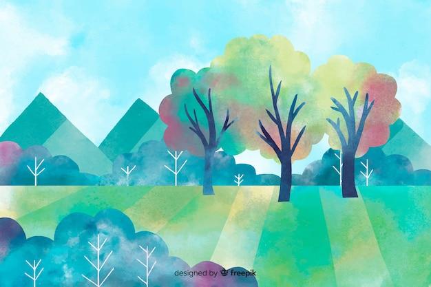 Illustration der schönen naturlandschaft mit bergen
