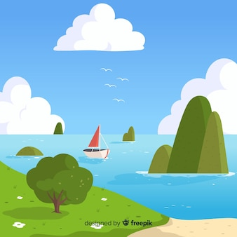 Illustration der schönen naturlandschaft mit seeansichten