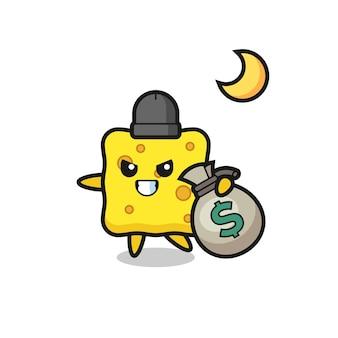 Illustration der schwammkarikatur wird das geld gestohlen, niedliches design für t-shirt, aufkleber, logo-element