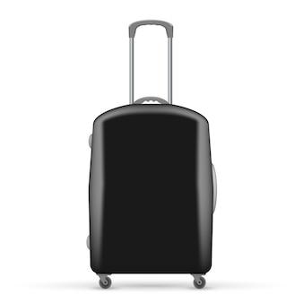 Illustration der schwarzen reisetasche. vorderansicht